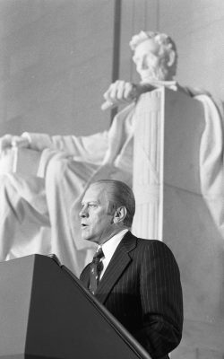 President Ford makes remarks at the Wreath-Laying Ceremony at the Lincoln Memorial on the Occasion of Abraham Lincoln's Birthday, February 12, 1976.